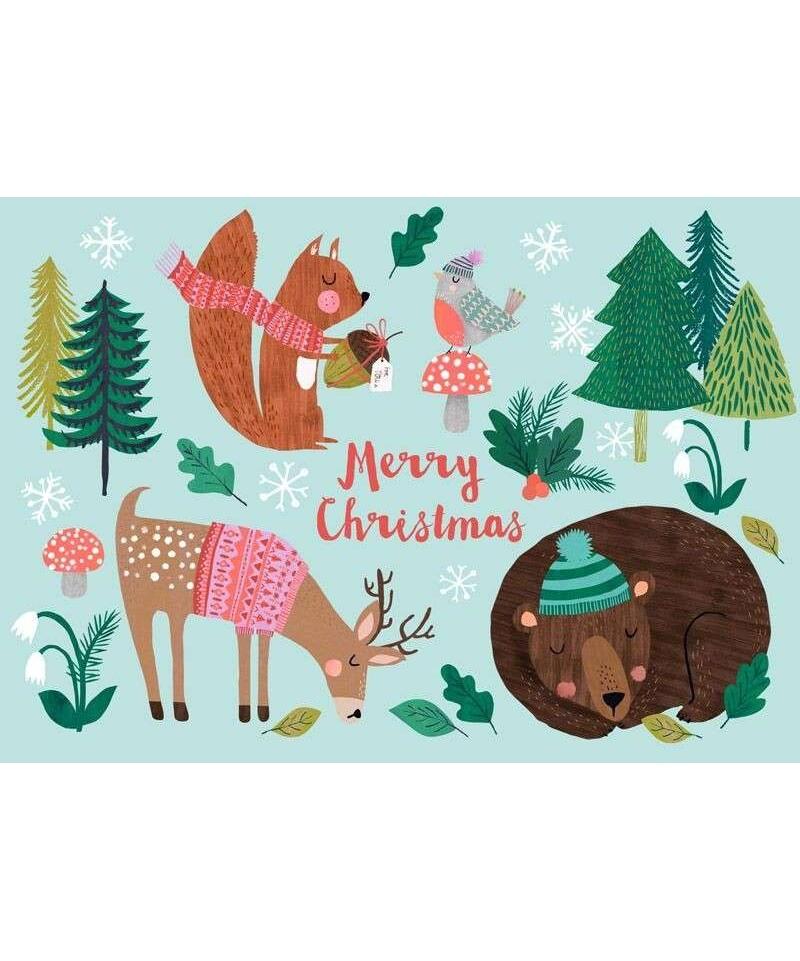 Postal Merry X-Mas Snow Bunny de Rebecca Jones