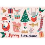 Postal Merry X-Mas Animals de Rebecca Jones