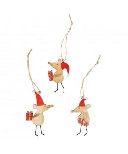 Ratoncitos adornos de navidad de madera