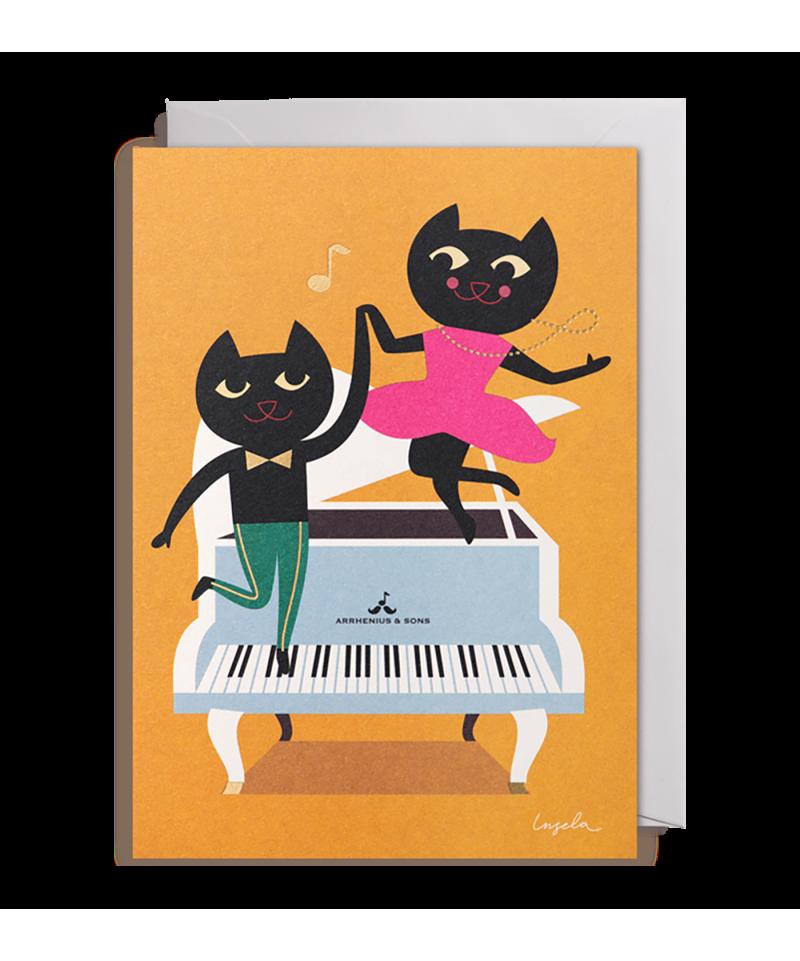 TARJETA BAILANDO EN PIANO