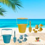 Set de Cubo de Silicona y Juguetes de Playa Scrunch