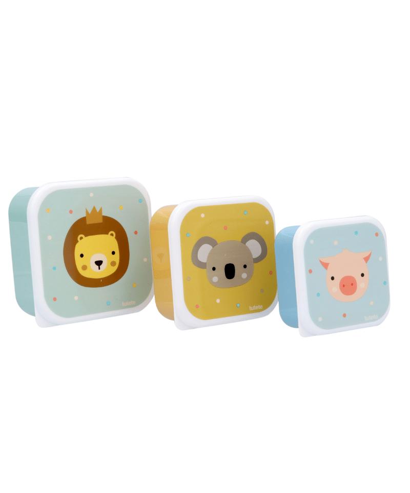 3 cajas almuerzo animal friends